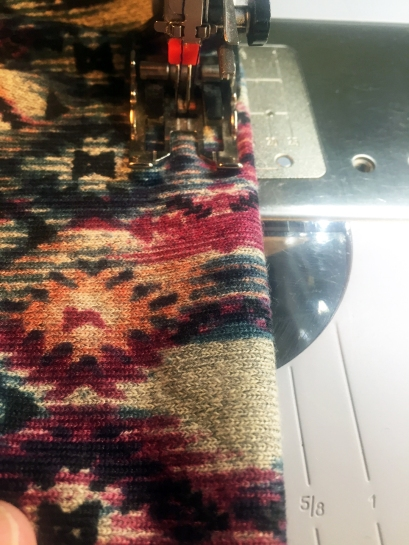 Stitching the hem with walking foot