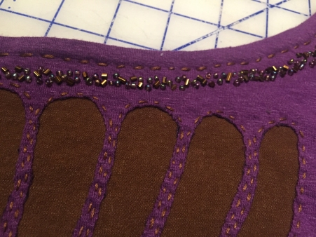 Front neck beading close up