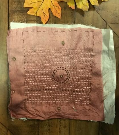 Kantha stiched vintage Sari fabric